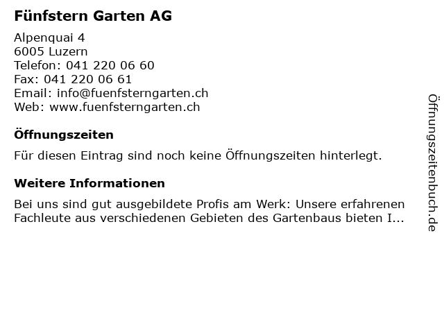Fünfstern Garten AG in Luzern: Adresse und Öffnungszeiten