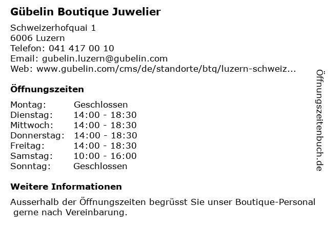 Gübelin Boutique Juwelier in Luzern: Adresse und Öffnungszeiten