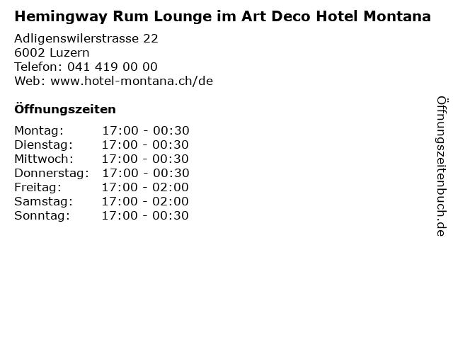 Hemingway Rum Lounge im Art Deco Hotel Montana in Luzern: Adresse und Öffnungszeiten