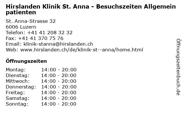 Hirslanden Klinik St. Anna - Besuchszeiten Allgemeinpatienten in Luzern: Adresse und Öffnungszeiten