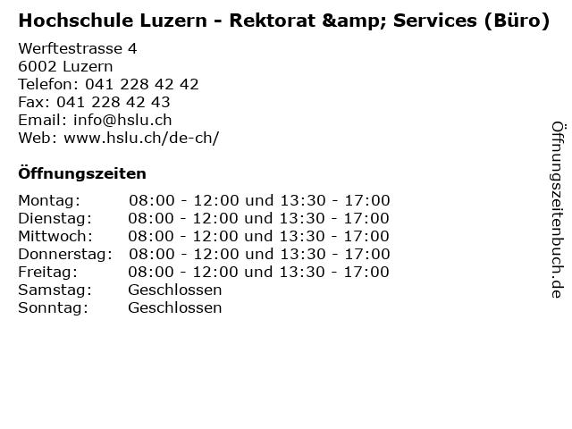 Hochschule Luzern - Rektorat & Services (Büro) in Luzern: Adresse und Öffnungszeiten