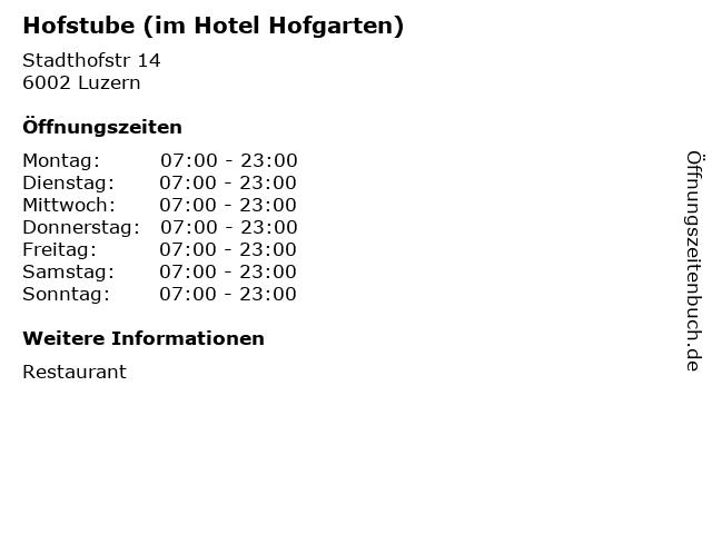 Hofstube (im Hotel Hofgarten) in Luzern: Adresse und Öffnungszeiten