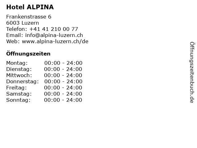 Hotel ALPINA in Luzern: Adresse und Öffnungszeiten