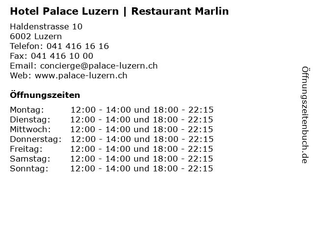Hotel Palace Luzern | Restaurant Marlin in Luzern: Adresse und Öffnungszeiten
