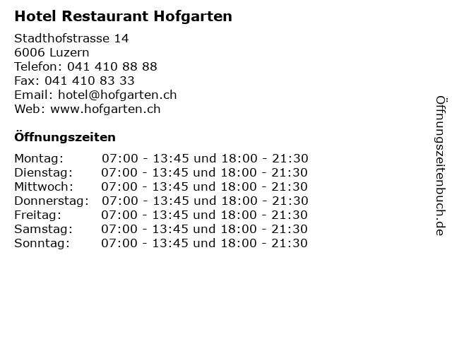 Hotel Restaurant Hofgarten in Luzern: Adresse und Öffnungszeiten