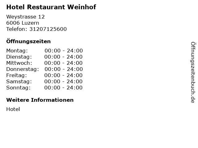 Hotel Restaurant Weinhof in Luzern: Adresse und Öffnungszeiten