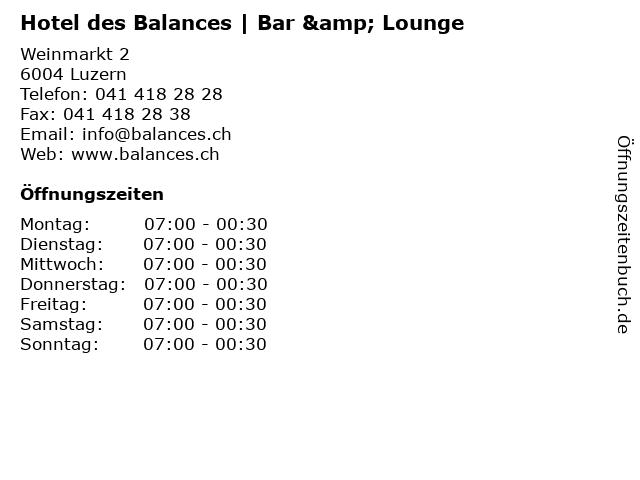 Hotel des Balances | Bar & Lounge in Luzern: Adresse und Öffnungszeiten