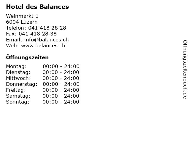 Hotel des Balances in Luzern: Adresse und Öffnungszeiten