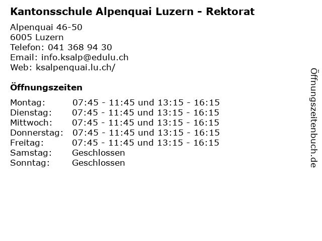 Kantonsschule Alpenquai Luzern - Rektorat in Luzern: Adresse und Öffnungszeiten