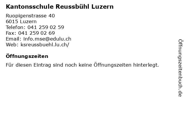 Kantonsschule Reussbühl Luzern in Luzern: Adresse und Öffnungszeiten