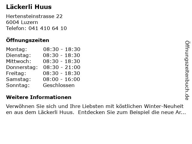 Läckerli Huus in Luzern: Adresse und Öffnungszeiten