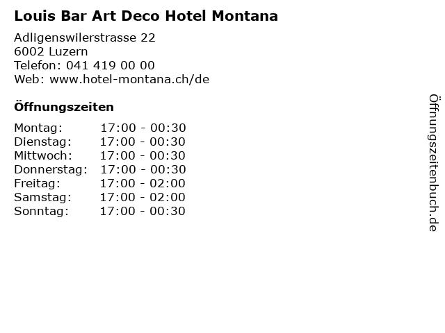 Louis Bar Art Deco Hotel Montana in Luzern: Adresse und Öffnungszeiten