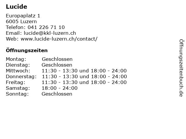 Lucide in Luzern: Adresse und Öffnungszeiten
