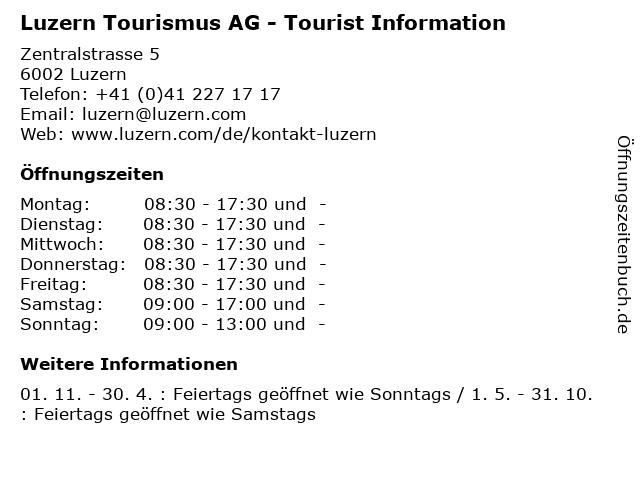 Luzern Tourismus AG - Tourist Information in Luzern: Adresse und Öffnungszeiten