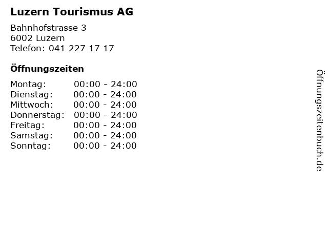 Luzern Tourismus AG in Luzern: Adresse und Öffnungszeiten