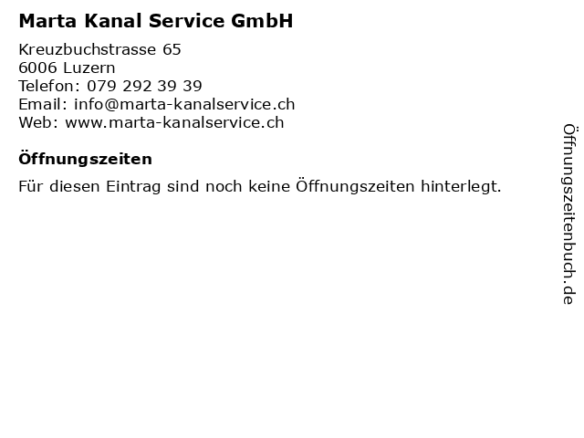 Marta Kanal Service GmbH in Luzern: Adresse und Öffnungszeiten