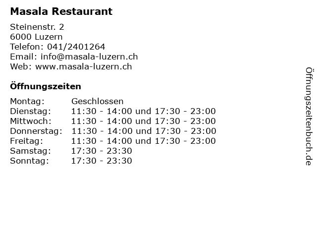Masala Restaurant in Luzern: Adresse und Öffnungszeiten