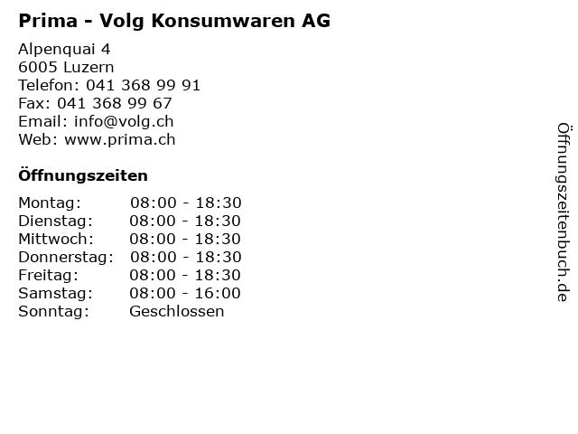 Prima - Volg Konsumwaren AG in Luzern: Adresse und Öffnungszeiten
