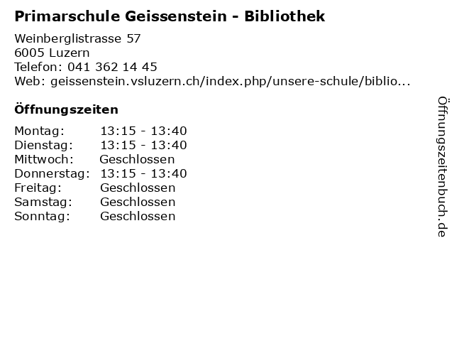 Primarschule Geissenstein - Bibliothek in Luzern: Adresse und Öffnungszeiten
