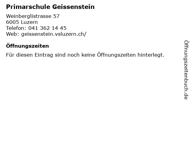 Primarschule Geissenstein in Luzern: Adresse und Öffnungszeiten