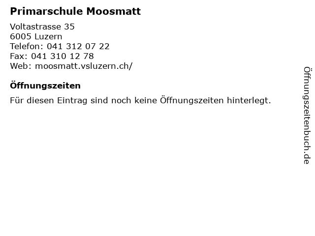 Primarschule Moosmatt in Luzern: Adresse und Öffnungszeiten