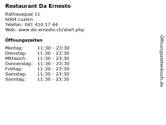 Restaurant Da Ernesto in Luzern: Adresse und Öffnungszeiten