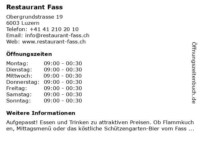 Restaurant Fass in Luzern: Adresse und Öffnungszeiten