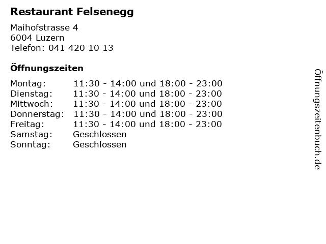 Restaurant Felsenegg in Luzern: Adresse und Öffnungszeiten