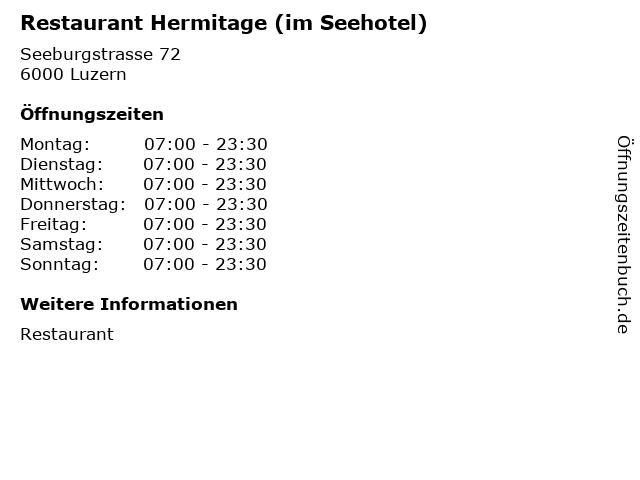 Restaurant Hermitage (im Seehotel) in Luzern: Adresse und Öffnungszeiten