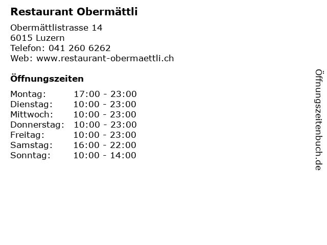 Restaurant Obermättli in Luzern: Adresse und Öffnungszeiten