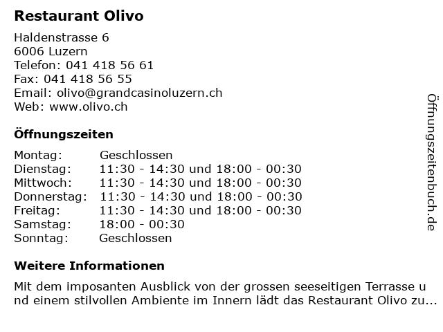Restaurant Olivo in Luzern: Adresse und Öffnungszeiten