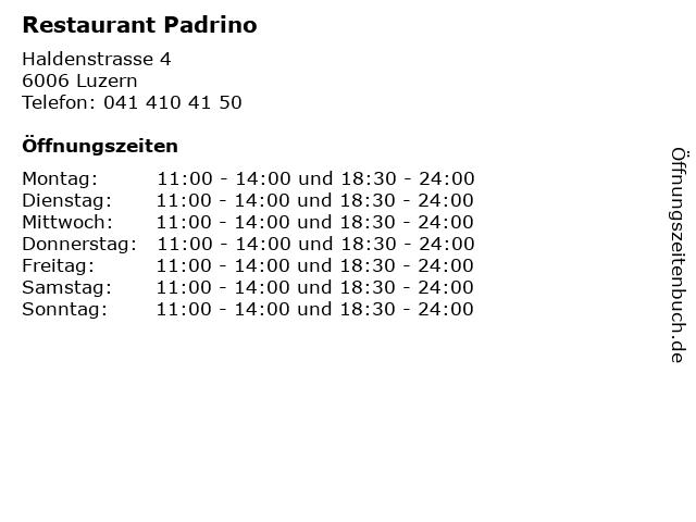 Restaurant Padrino in Luzern: Adresse und Öffnungszeiten