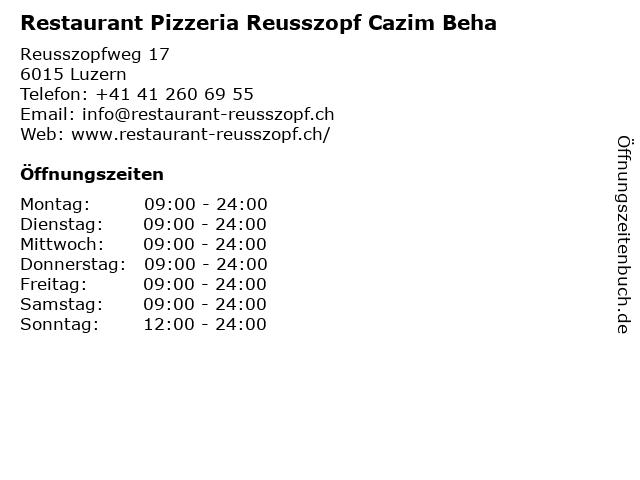 Restaurant Pizzeria Reusszopf Cazim Beha in Luzern: Adresse und Öffnungszeiten