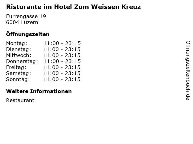 Ristorante im Hotel Zum Weissen Kreuz in Luzern: Adresse und Öffnungszeiten