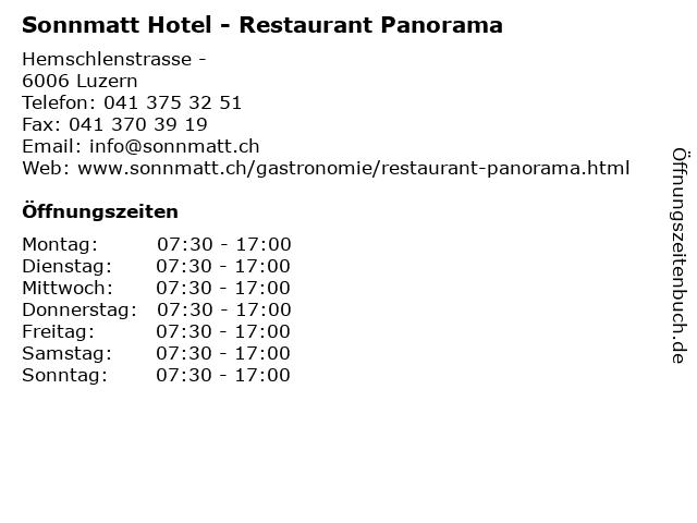 Sonnmatt Hotel - Restaurant Panorama in Luzern: Adresse und Öffnungszeiten