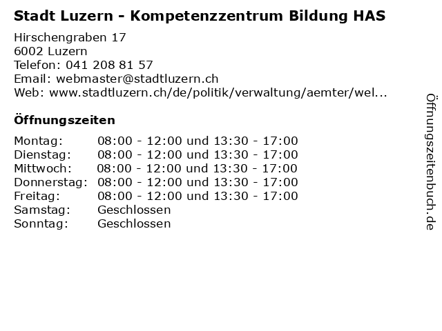 Stadt Luzern - Kompetenzzentrum Bildung HAS in Luzern: Adresse und Öffnungszeiten
