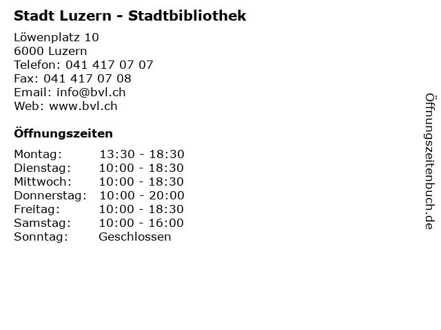 Stadt Luzern - Stadtbibliothek in Luzern: Adresse und Öffnungszeiten