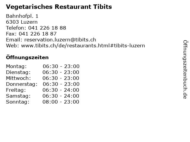 Vegetarisches Restaurant Tibits in Luzern: Adresse und Öffnungszeiten