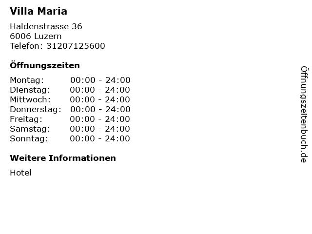 Villa Maria in Luzern: Adresse und Öffnungszeiten