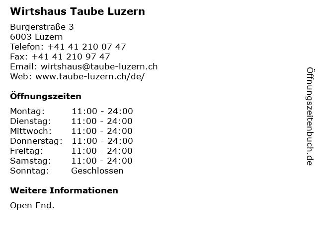 Wirtshaus Taube Luzern in Luzern: Adresse und Öffnungszeiten
