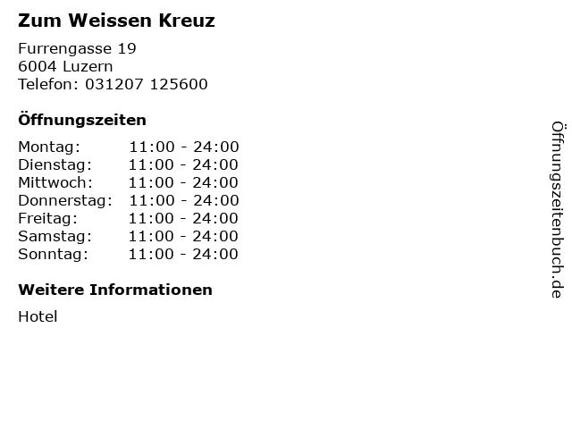 Zum Weissen Kreuz in Luzern: Adresse und Öffnungszeiten