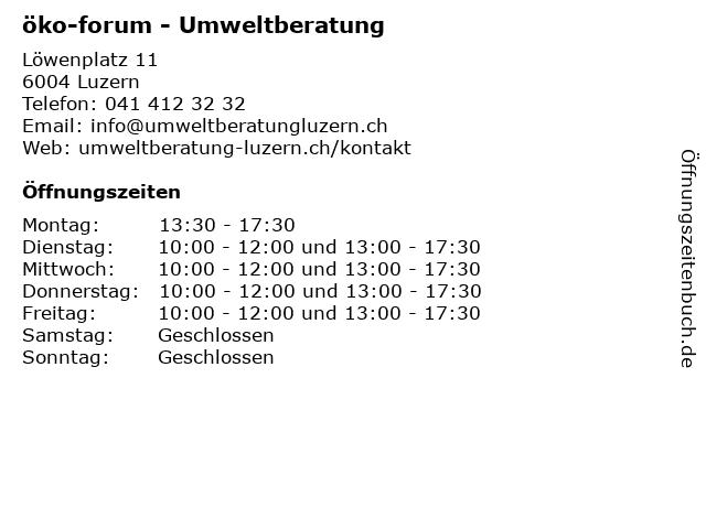 öko-forum in Luzern: Adresse und Öffnungszeiten
