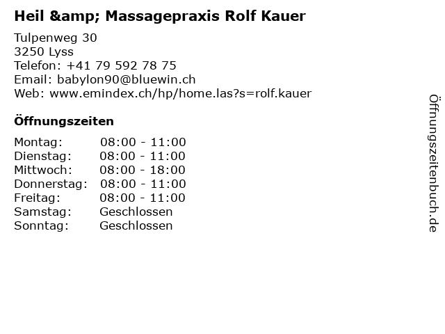 ᐅ öffnungszeiten Heil Massagepraxis Rolf Kauer Tulpenweg 30