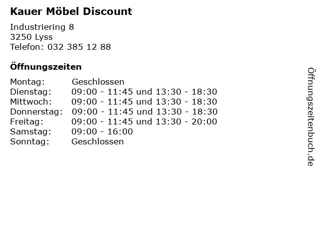 ᐅ öffnungszeiten Kauer Möbel Discount Industriering 8 In Lyss