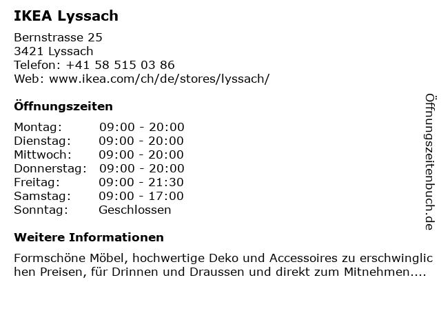 ᐅ öffnungszeiten Ikea Einrichtungshaus Bernstrasse 25 In Lyssach