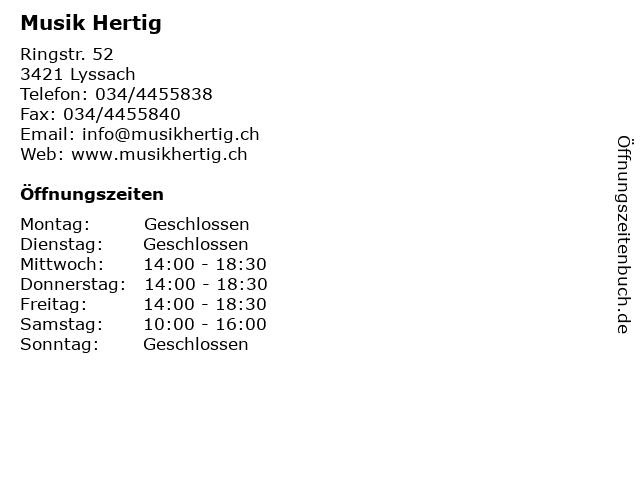 Musik Hertig in Lyssach: Adresse und Öffnungszeiten
