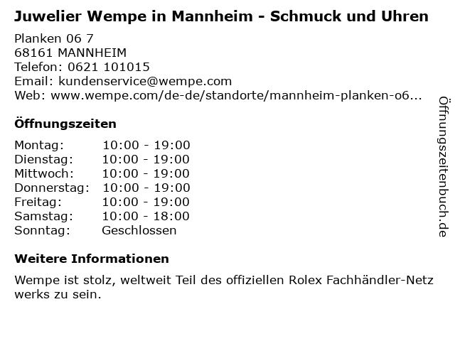 Juwelier Wempe in Mannheim: Adresse und Öffnungszeiten