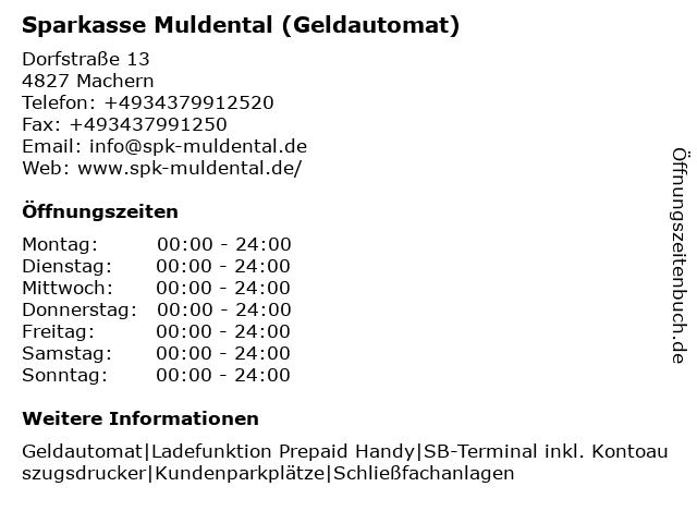 Sparkasse Muldental - (Geldautomat Geschäftsstelle) in Machern: Adresse und Öffnungszeiten