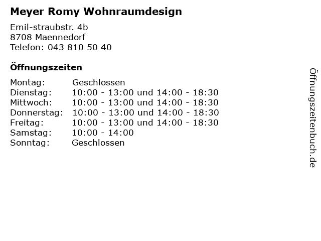 Meyer Romy Wohnraumdesign in Maennedorf: Adresse und Öffnungszeiten