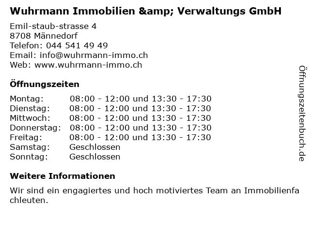 Wuhrmann Immobilien & Verwaltungs GmbH in Männedorf: Adresse und Öffnungszeiten